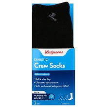 Walgreens Diabetic Crew Socks for Men 7-12 Black