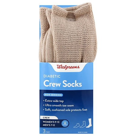 Walgreens Diabetic Crew Socks for Men Sizes 7-12 Khaki
