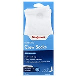 Walgreens Diabetic Crew Socks for Women Sizes 6-10 White