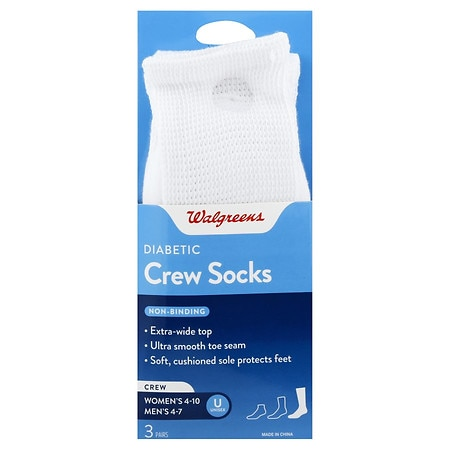 Walgreens Diabetic Crew Socks for Women 6-10 White