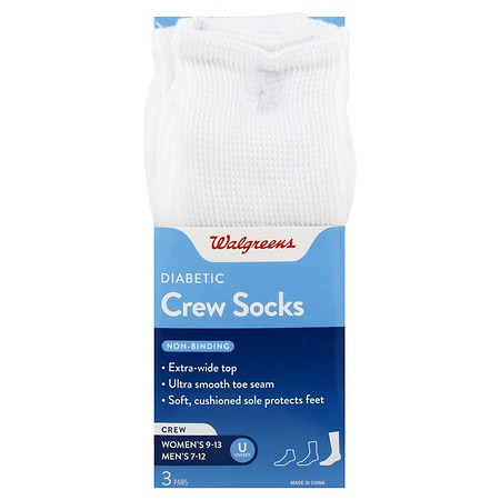 Walgreens Diabetic Crew Socks for Men 7-12 White