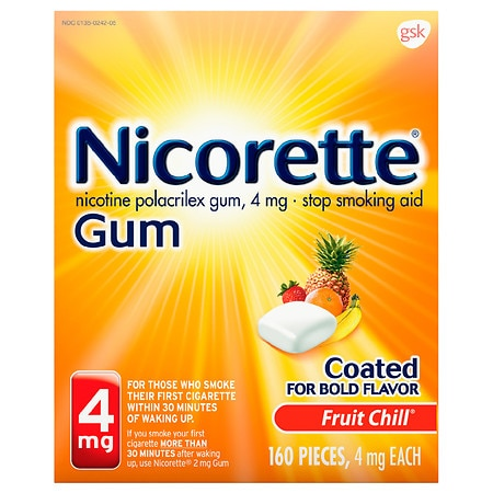Nicorette Nicotine Gum, 4 mg Fruit Chill