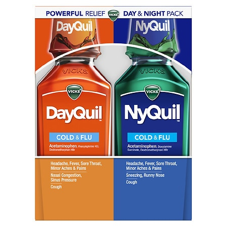 Vicks Dayquil Nyquil Cold & Flu Relief Combo Pack, Liquid 2-12 oz Bottles