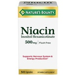 Nature's Bounty Flush Free Niacin 500 mg Dietary Supplement Capsules
