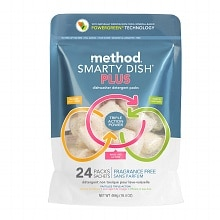 method Smarty Dish Plus Dishwasher Detergent Tabs, 24 Loads Fragrance Free