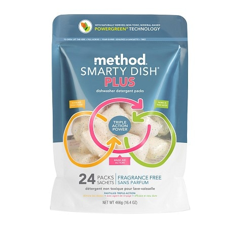 method Smarty Dish Plus Dishwasher Detergent Packets, 24 Loads Fragrance Free