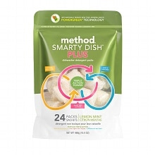 method Smarty Dish Plus Dishwasher Detergent Packets, 24 Loads Lemon Mint