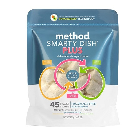method Smarty Dish Plus Dishwasher Detergent Packets, 45 Loads Fragrance Free