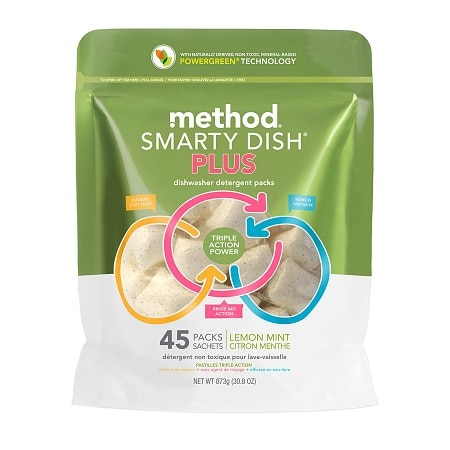 method Smarty Dish Plus Dishwasher Detergent Packets, 45 Loads Lemon Mint
