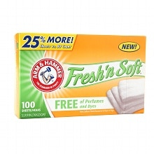 Arm & Hammer Fresh & Soft Dryer Sheets Perfume & Dye Free