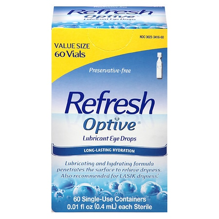 Refresh Optive Preservative-Free Lubricant Eye Drops Single Use Containers