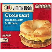 Jimmy Dean Frozen Croissant Sandwiches 4 Pack Sausage, Egg & Cheese