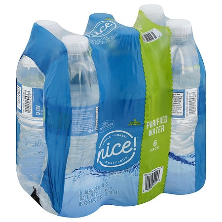 Nice purified water bottles 16 9 oz bottles 6 pk walgreens for Floor 9 water bottle