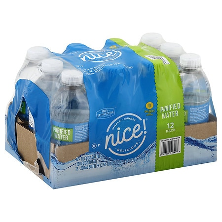 Nice! Purified Water 10 oz Bottles, 12 pk