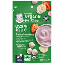 Gerber Organic Yogurt Melts, Freeze-Dried Yogurt Snacks Banana Strawberry