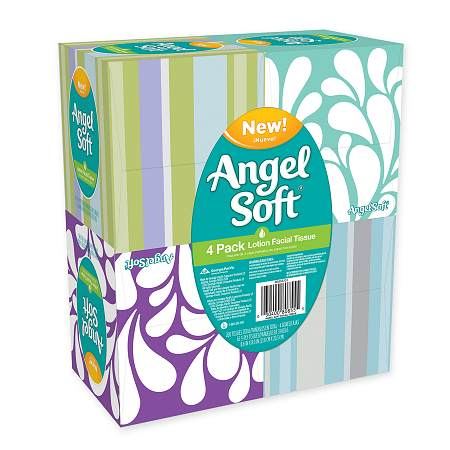Angel Soft Lotion Facial Tissue 4 pk White