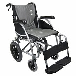 Karman 16in Seat Ergonomic Transport Wheelchair Silver