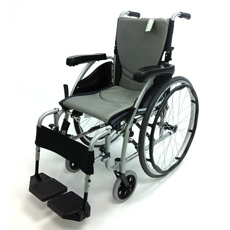 Karman 18in Seat Ergonomic Transport Wheelchair Silver