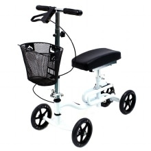 Karman Luxury Lightweight 4-Wheeled Knee Walker with Basket White