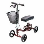 Karman Luxury Lightweight 4-Wheeled Knee Walker with Basket Burgundy