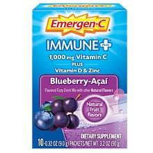Emergen-C Immune+ System Support Dietary Supplement Powder 10 Pack Blueberry-Acai