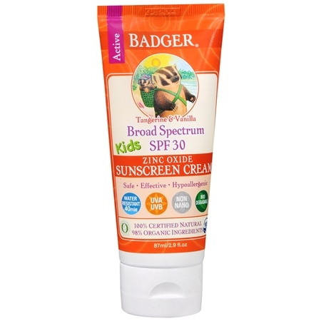 Badger Broad Spectrum SPF 30 Kids Zinc Oxide Sunscreen Cream Tangerine Vanilla