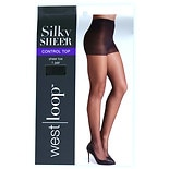 West Loop Control Top Sheer Toe Sheer Pantyhose B Jet Black