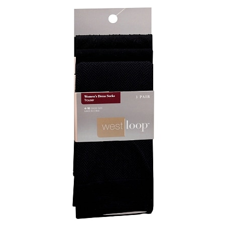 West Loop Women's Dress Trouser Socks 4-10 Black
