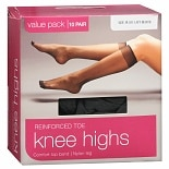 Walgreens Reinforced Toe Knee Highs Plus Jet Black