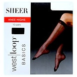 Walgreens Reinforced Toe Knee Highs One Off Black