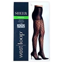 West Loop Luxe Control Top Sheer Toe Fashion Sheer Pantyhose D Jet Black