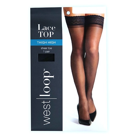 West Loop Luxe Lace Top Reinforced Toe Thigh Highs L/XL Jet Black