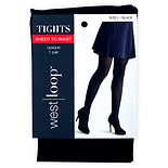 West Loop Sheer-to-Waist Opaque Tights L Black