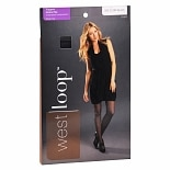 West Loop Control Top Sheer Toe Support Pantyhose D Off Black