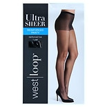 West Loop Reinforced Panty Sheer Toe Ultra Sheer Pantyhose D Jet Black