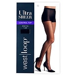 West Loop Control Top Sheer Toe Ultra Sheer Pantyhose E Jet Black