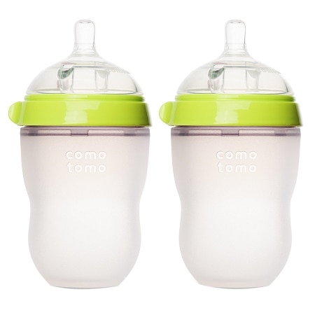 Comotomo Baby Bottle, 2 Pack Green