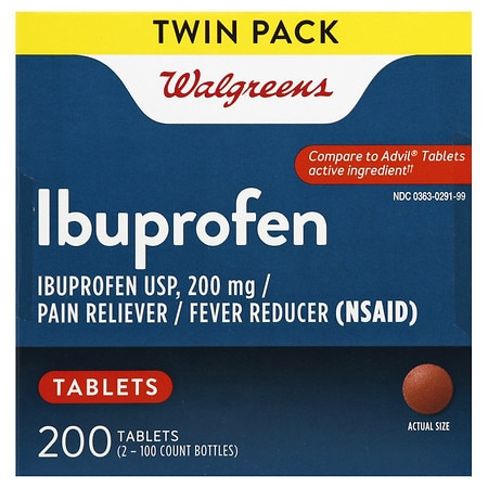 Walgreens Ibuprofen 200 mg Tablets, Twin Pack