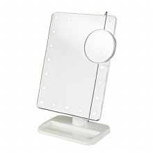 Jerdon Portable LED Lighted Adjustable Makeup Mirror, 10X Magnification White