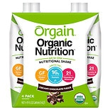 Orgain Organic Nutritional Liquid Shakes 4 Pack 11 oz Cartons Chocolate Fudge