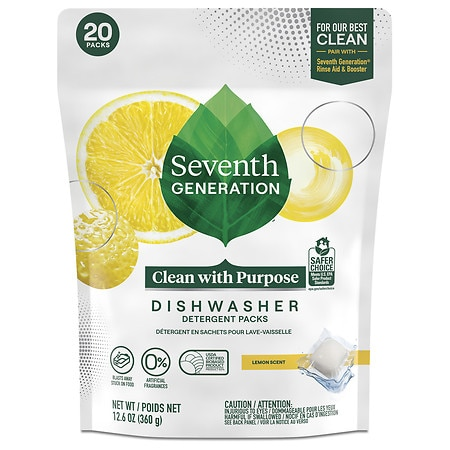 Seventh Generation Automatic Dishwasher Detergent Pacs Lemon