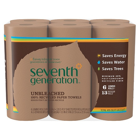 Seventh Generation Unbleached Paper Towels 6 pk