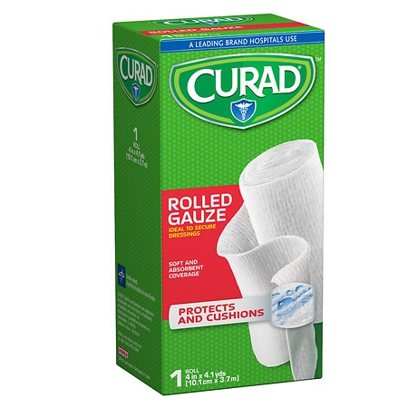 Curad Pro-Sorb Rolled Gauze Sterile Roll 4 in x 2.5 yds (101 mm x 2.2 mm) White