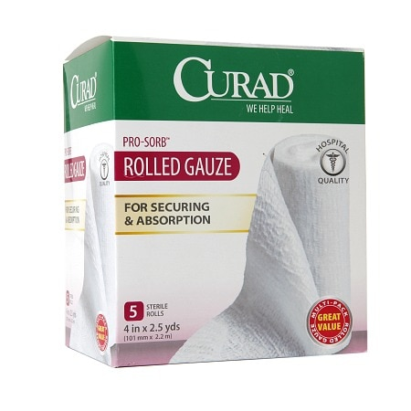 Curad Pro-Sorb Rolled Gauze Sterile Rolls 4 in x 2.5 yds (101 mm x 2.2 mm) White