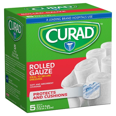 Curad Pro-Sorb Rolled Gauze Sterile Rolls 3 in x 2.5 yds (76 mm x 2.2 m) White
