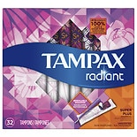 Tampax Radiant Plastic, Super Plus Absorbency, Unscented Tampons
