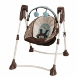 Graco Swing by Me Portable 2 in 1 Swing Brown & Blue Little Hoot