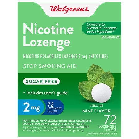 Walgreens Nicotine Stop Smoking Aid Lozenges 2 mg Mint Health Fitness Skin Care Beauty Supply Deals