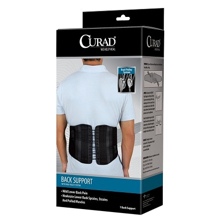 Curad Back Support with Dual-Pulley System 2XL Black