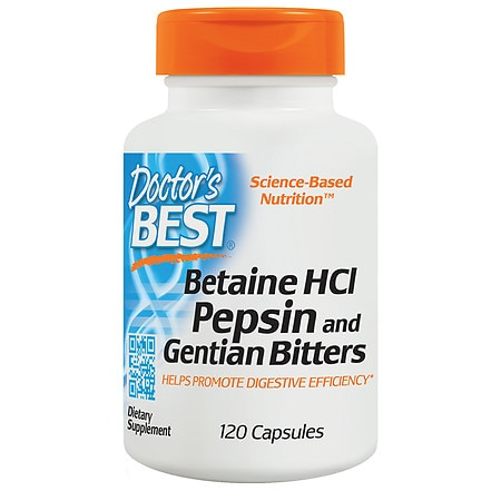 Doctor's Best Betaine HCl Pepsin & Gentian Bitters, Capsules